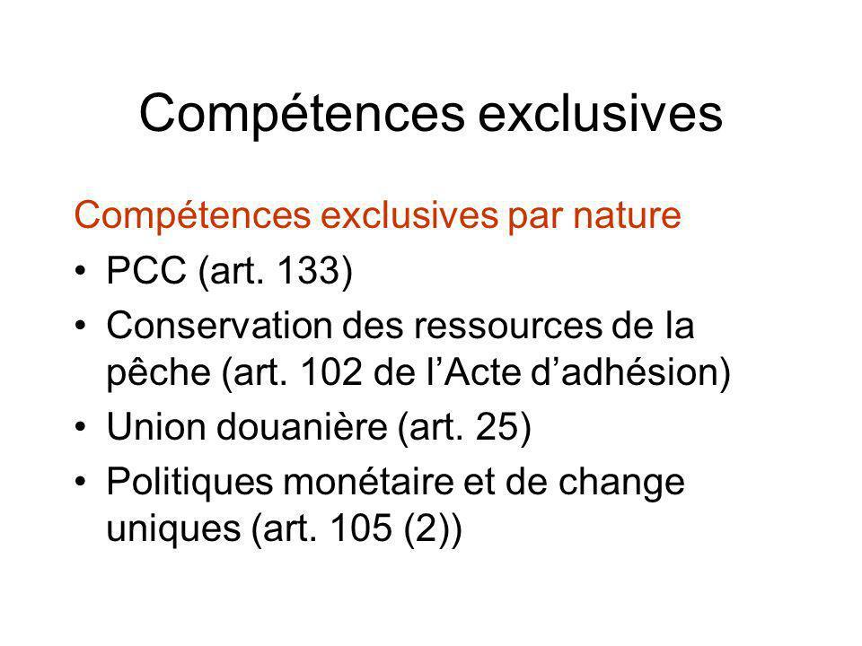 Compétences exclusives Compétences exclusives par nature PCC (art. 133) Conservation des ressources de la pêche (art. 102 de lActe dadhésion) Union do