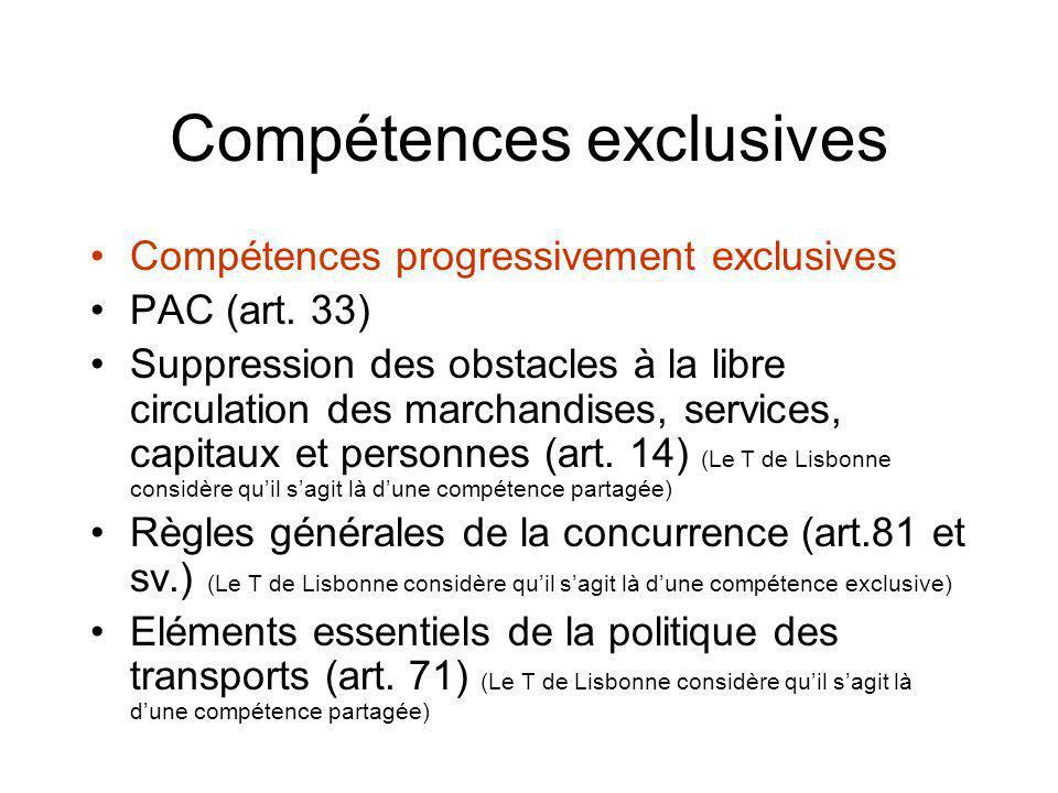 Compétences exclusives Compétences progressivement exclusives PAC (art. 33) Suppression des obstacles à la libre circulation des marchandises, service