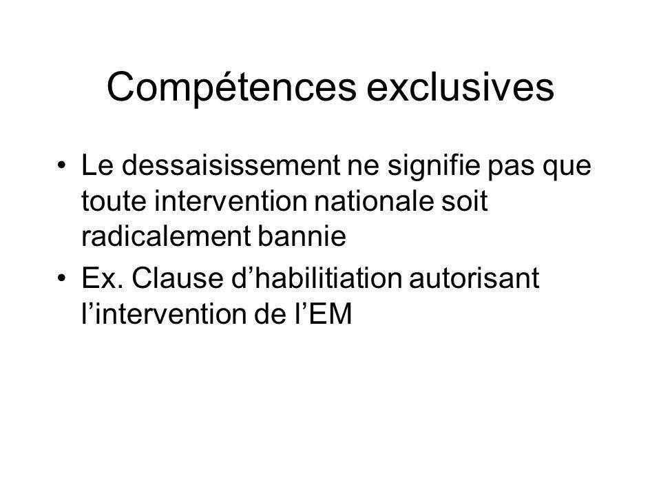 Compétences exclusives Le dessaisissement ne signifie pas que toute intervention nationale soit radicalement bannie Ex. Clause dhabilitiation autorisa