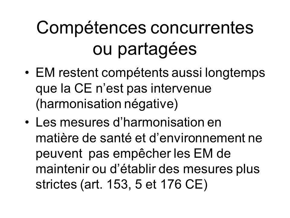 Compétences concurrentes ou partagées EM restent compétents aussi longtemps que la CE nest pas intervenue (harmonisation négative) Les mesures dharmon