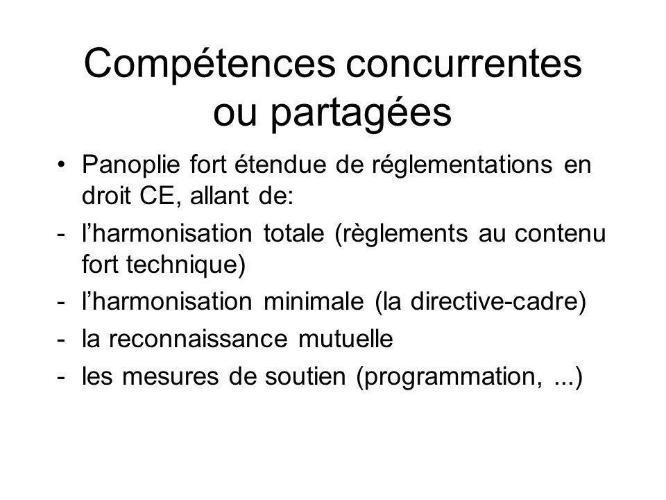 Compétences concurrentes ou partagées Panoplie fort étendue de réglementations en droit CE, allant de: -lharmonisation totale (règlements au contenu f