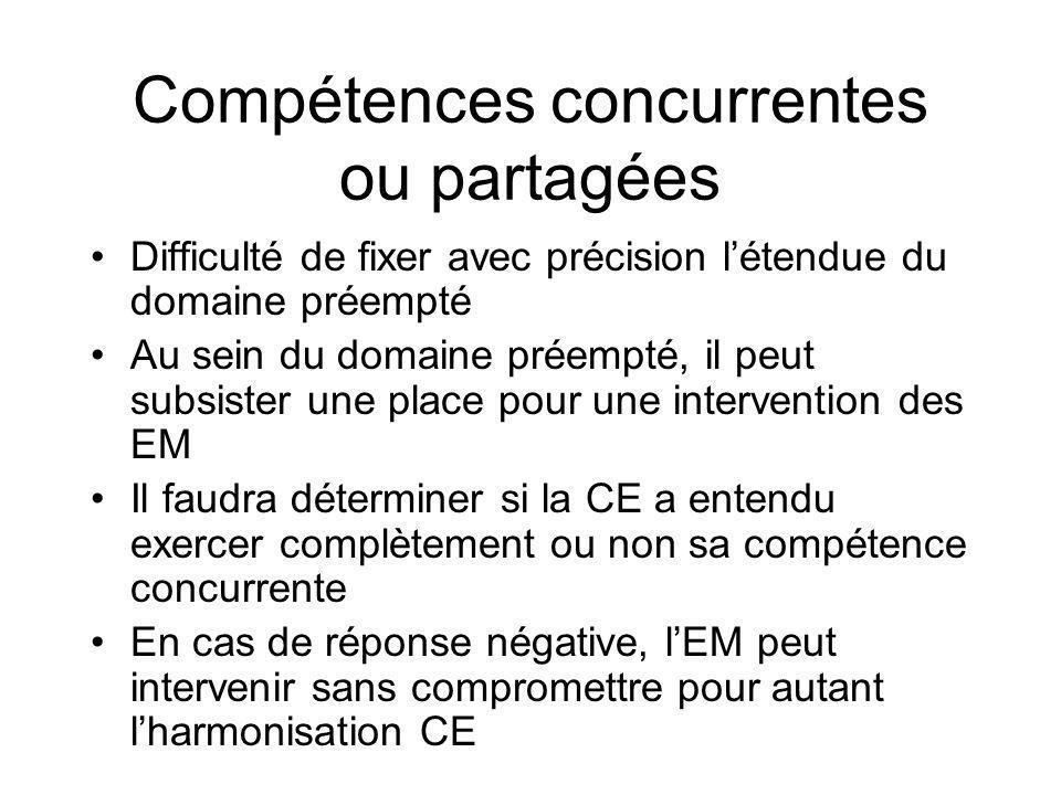 Compétences concurrentes ou partagées Difficulté de fixer avec précision létendue du domaine préempté Au sein du domaine préempté, il peut subsister u