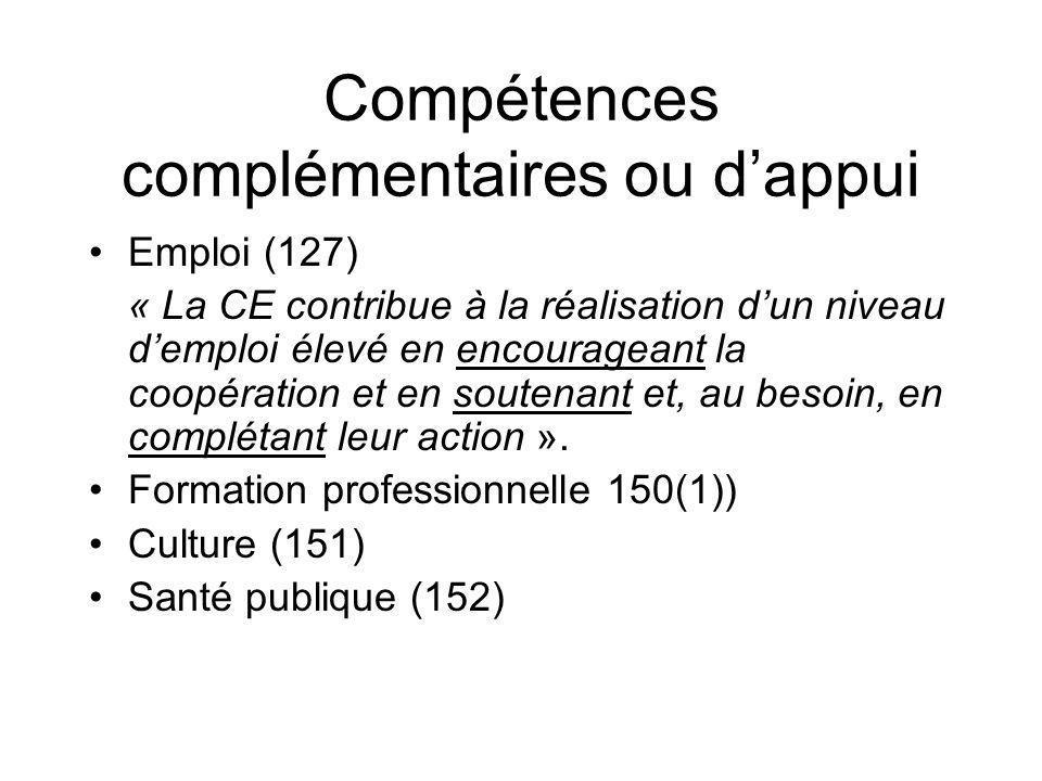 Compétences complémentaires ou dappui Emploi (127) « La CE contribue à la réalisation dun niveau demploi élevé en encourageant la coopération et en so