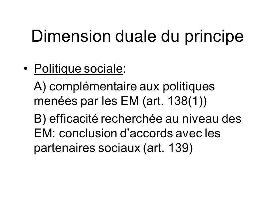 Dimension duale du principe Politique sociale: A) complémentaire aux politiques menées par les EM (art. 138(1)) B) efficacité recherchée au niveau des