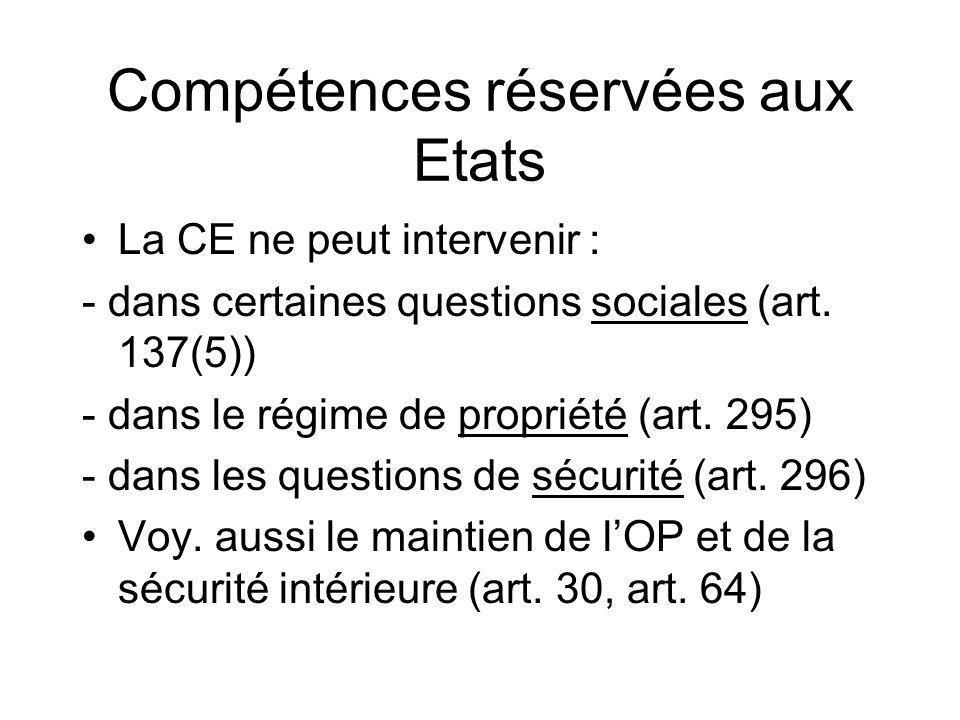 Compétences réservées aux Etats La CE ne peut intervenir : - dans certaines questions sociales (art. 137(5)) - dans le régime de propriété (art. 295)