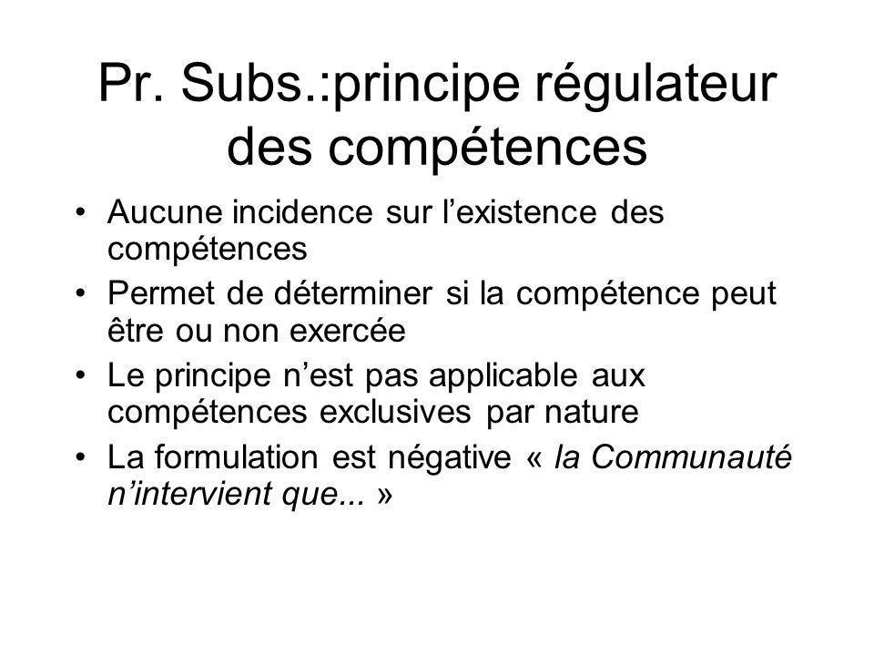 Pr. Subs.:principe régulateur des compétences Aucune incidence sur lexistence des compétences Permet de déterminer si la compétence peut être ou non e