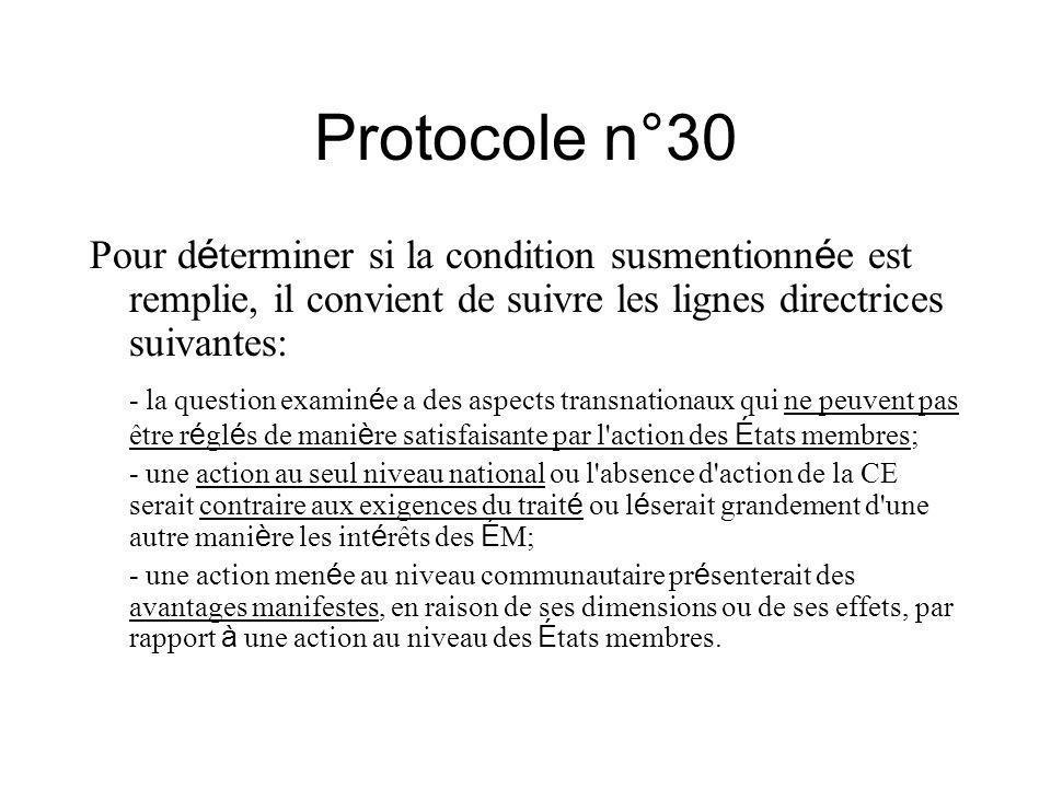 Protocole n°30 Pour d é terminer si la condition susmentionn é e est remplie, il convient de suivre les lignes directrices suivantes: - la question ex