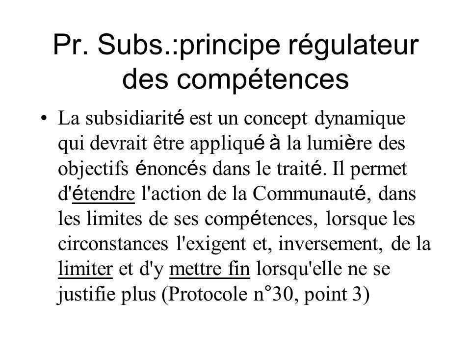 Pr. Subs.:principe régulateur des compétences La subsidiarit é est un concept dynamique qui devrait être appliqu é à la lumi è re des objectifs é nonc