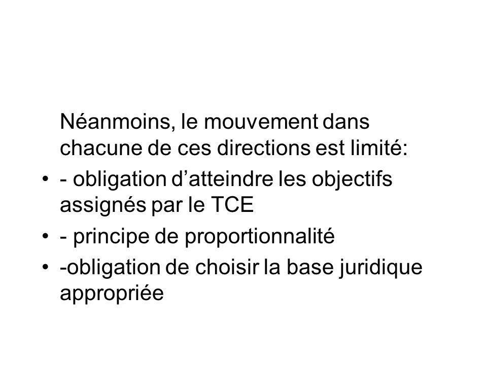 Néanmoins, le mouvement dans chacune de ces directions est limité: - obligation datteindre les objectifs assignés par le TCE - principe de proportionn
