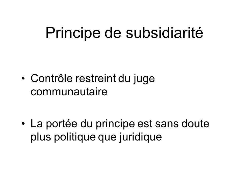 Principe de subsidiarité Contrôle restreint du juge communautaire La portée du principe est sans doute plus politique que juridique