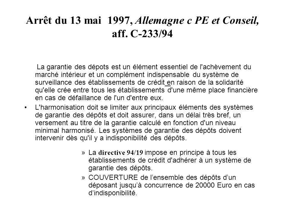 Arrêt du 13 mai 1997, Allemagne c PE et Conseil, aff. C-233/94 La garantie des dépots est un élément essentiel de l'achèvement du marché intérieur et