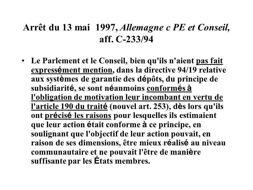 Arrêt du 13 mai 1997, Allemagne c PE et Conseil, aff. C-233/94 Le Parlement et le Conseil, bien qu'ils n'aient pas fait express é ment mention, dans l
