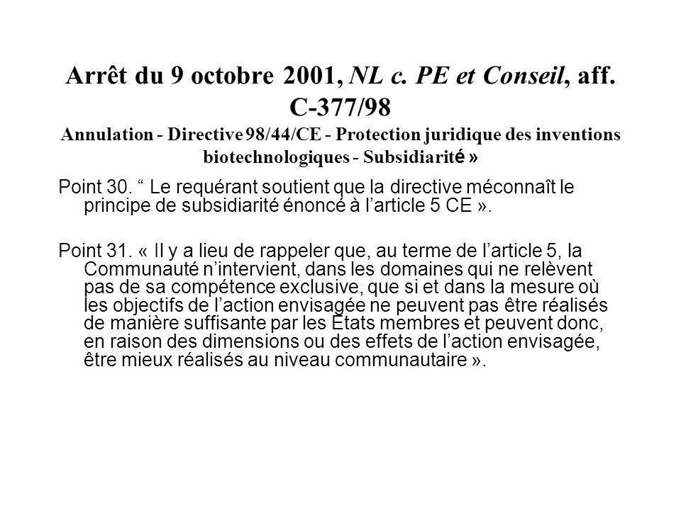 Arrêt du 9 octobre 2001, NL c. PE et Conseil, aff. C-377/98 Annulation - Directive 98/44/CE - Protection juridique des inventions biotechnologiques -