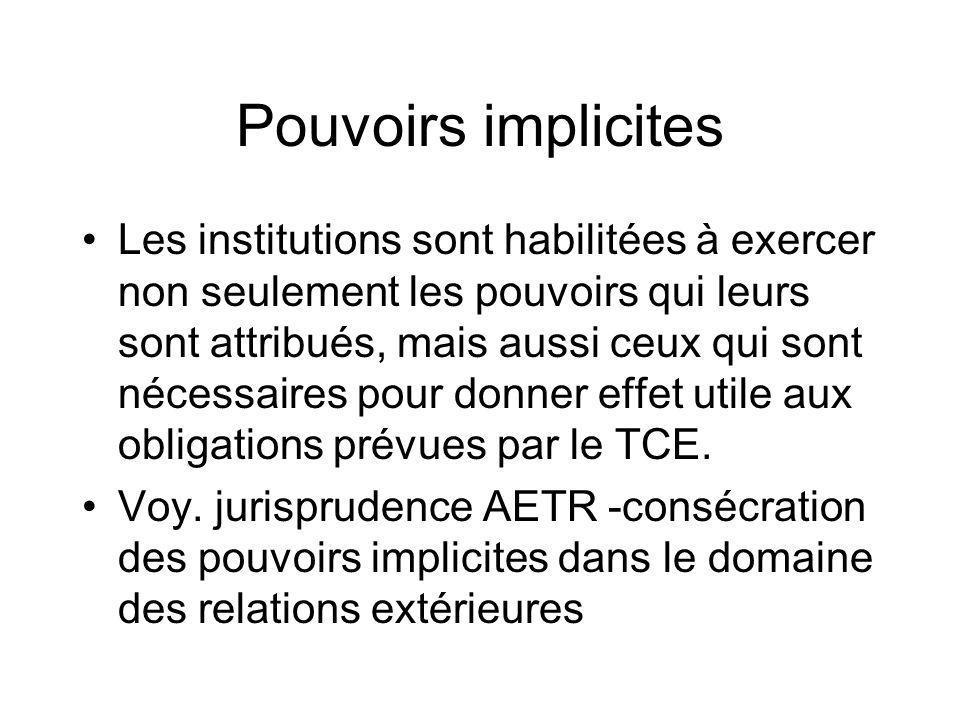 Pouvoirs implicites Les institutions sont habilitées à exercer non seulement les pouvoirs qui leurs sont attribués, mais aussi ceux qui sont nécessair