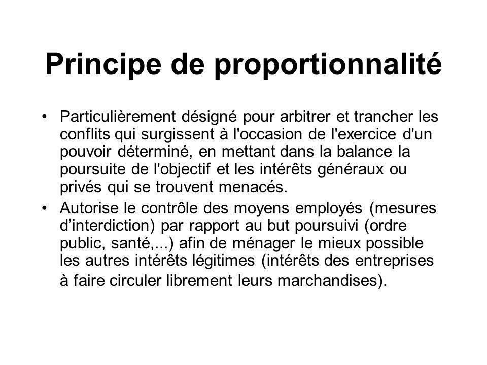 Principe de proportionnalité Particulièrement désigné pour arbitrer et trancher les conflits qui surgissent à l'occasion de l'exercice d'un pouvoir dé