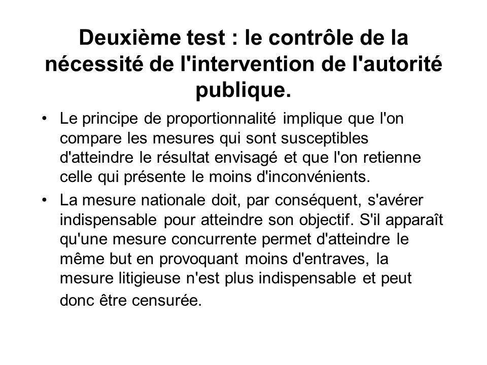 Deuxième test : le contrôle de la nécessité de l'intervention de l'autorité publique. Le principe de proportionnalité implique que l'on compare les me
