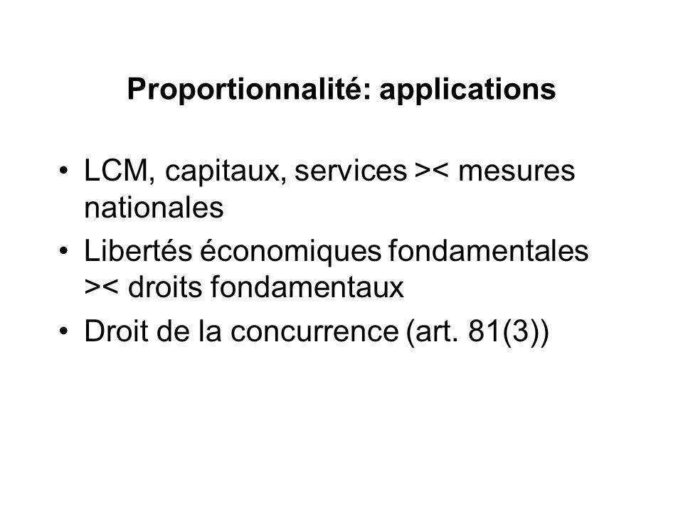 Proportionnalité: applications LCM, capitaux, services >< mesures nationales Libertés économiques fondamentales >< droits fondamentaux Droit de la con