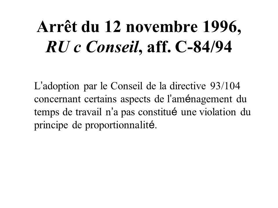 Arrêt du 12 novembre 1996, RU c Conseil, aff. C-84/94 L adoption par le Conseil de la directive 93/104 concernant certains aspects de l am é nagement
