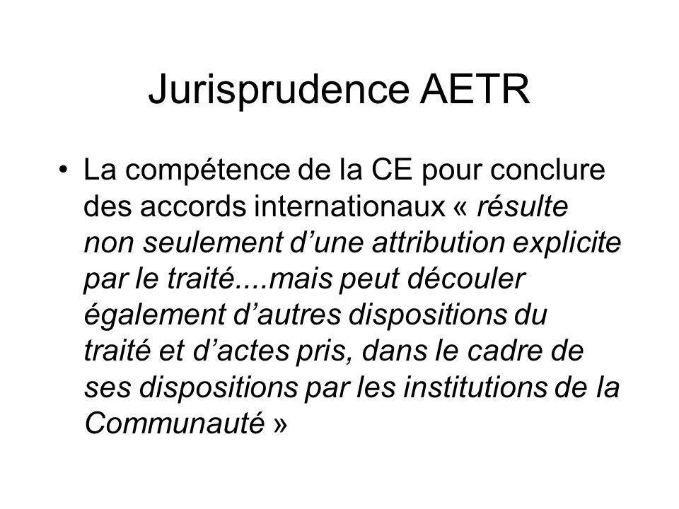 Jurisprudence AETR La compétence de la CE pour conclure des accords internationaux « résulte non seulement dune attribution explicite par le traité...
