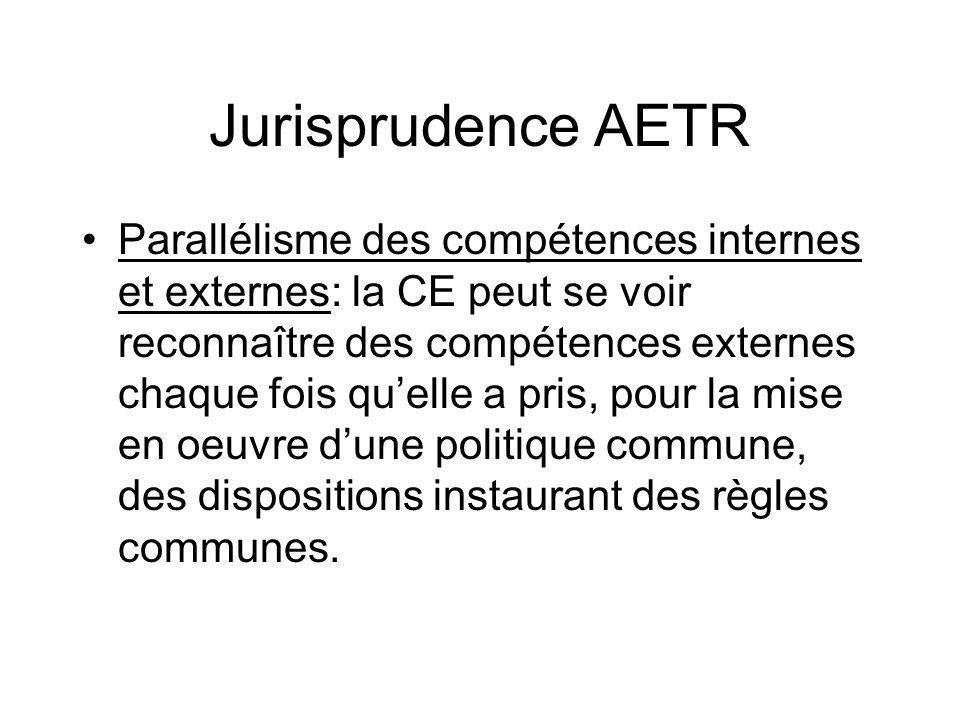 Jurisprudence AETR Parallélisme des compétences internes et externes: la CE peut se voir reconnaître des compétences externes chaque fois quelle a pri