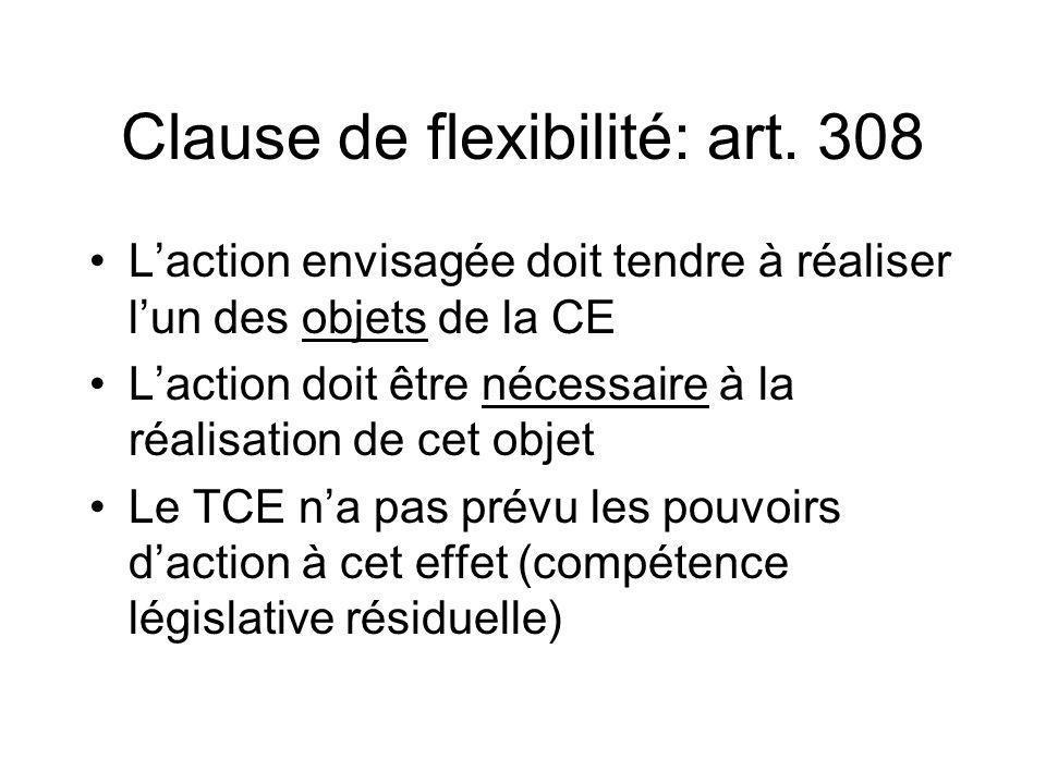 Clause de flexibilité: art. 308 Laction envisagée doit tendre à réaliser lun des objets de la CE Laction doit être nécessaire à la réalisation de cet