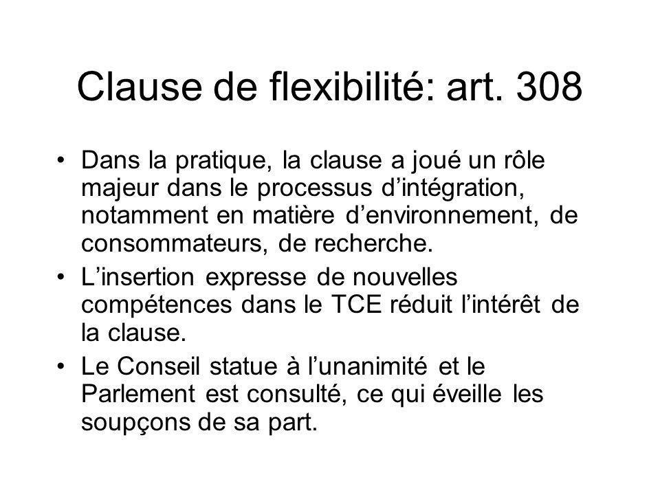 Clause de flexibilité: art. 308 Dans la pratique, la clause a joué un rôle majeur dans le processus dintégration, notamment en matière denvironnement,