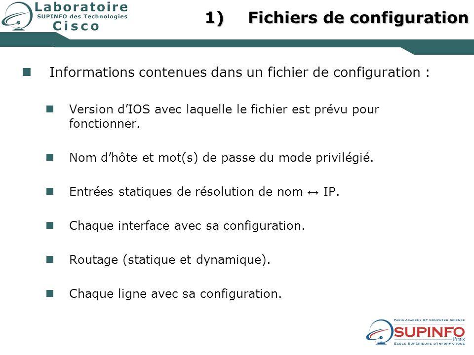 1)Fichiers de configuration Informations contenues dans un fichier de configuration : Version dIOS avec laquelle le fichier est prévu pour fonctionner