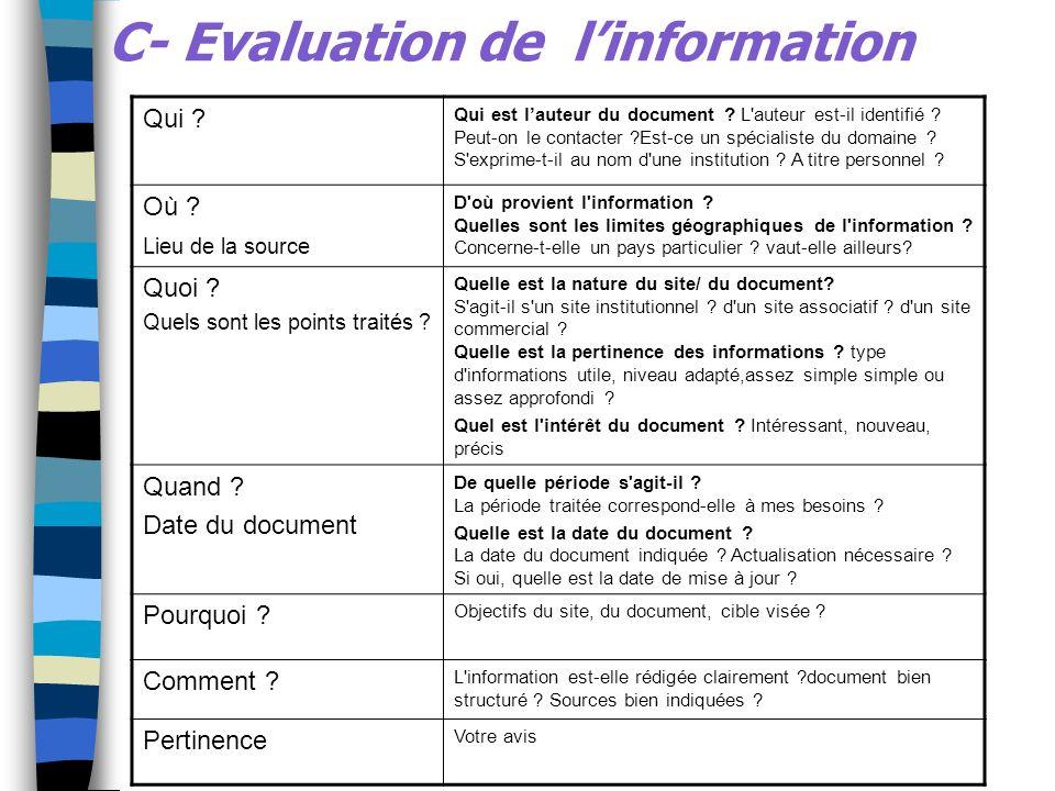 C- Evaluation de linformation Qui ? Qui est lauteur du document ? L'auteur est-il identifié ? Peut-on le contacter ?Est-ce un spécialiste du domaine ?