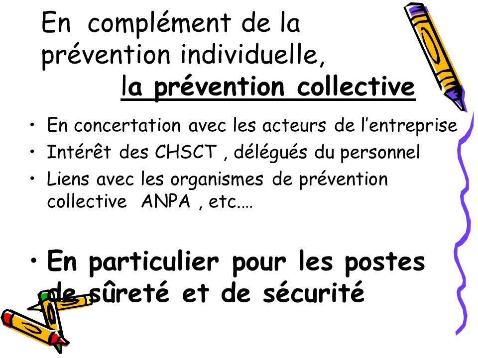 En complément de la prévention individuelle, la prévention collective En concertation avec les acteurs de lentreprise Intérêt des CHSCT, délégués du p