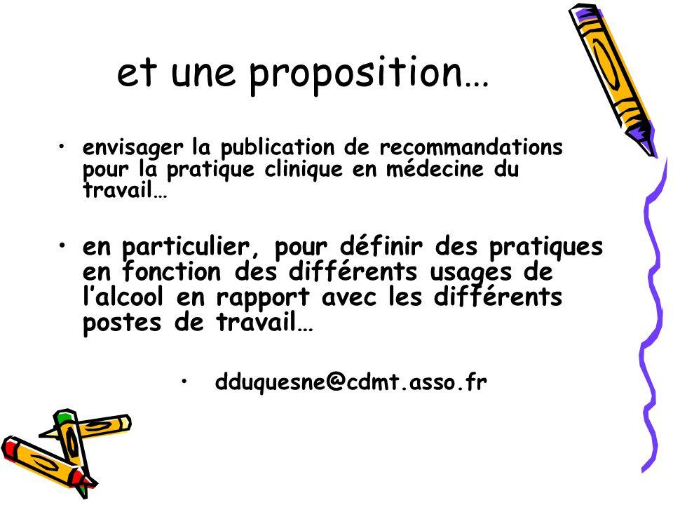 et une proposition… envisager la publication de recommandations pour la pratique clinique en médecine du travail… en particulier, pour définir des pra