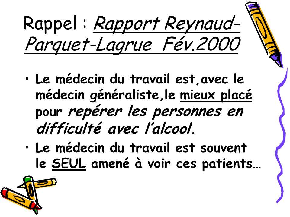 Rappel : Rapport Reynaud- Parquet-Lagrue Fév.2000 Le médecin du travail est,avec le médecin généraliste,le mieux placé pour repérer les personnes en d