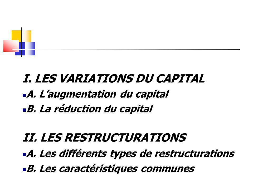 I. LES VARIATIONS DU CAPITAL A. Laugmentation du capital B. La réduction du capital II. LES RESTRUCTURATIONS A. Les différents types de restructuratio