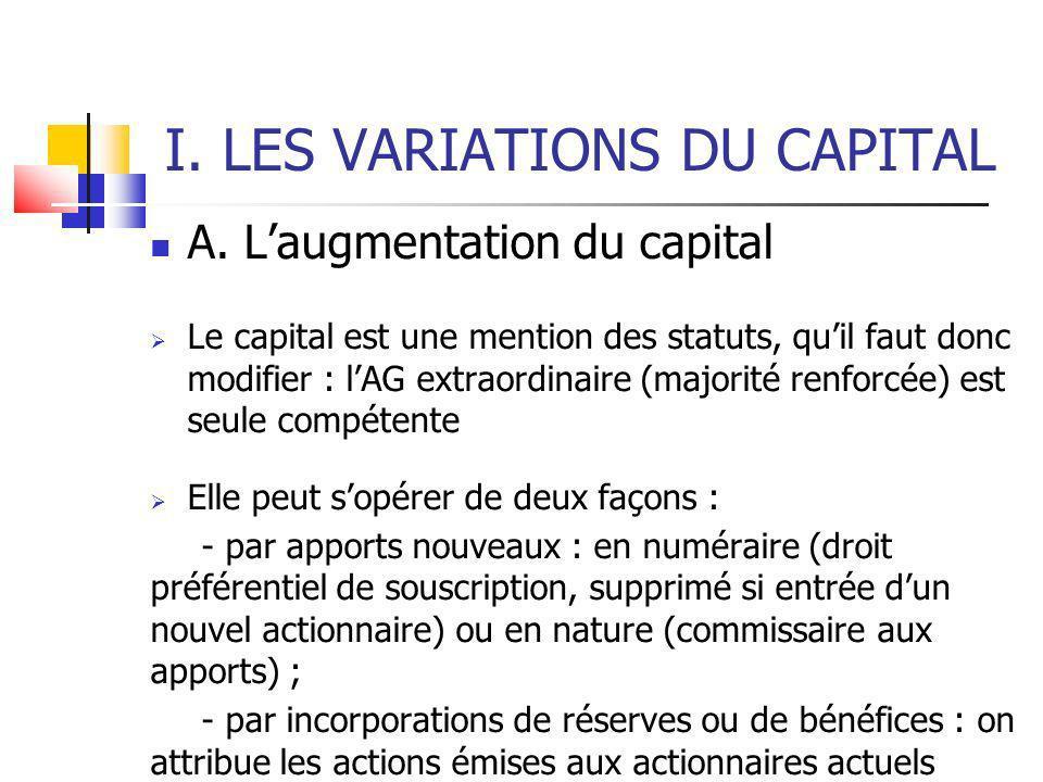 I. LES VARIATIONS DU CAPITAL A.