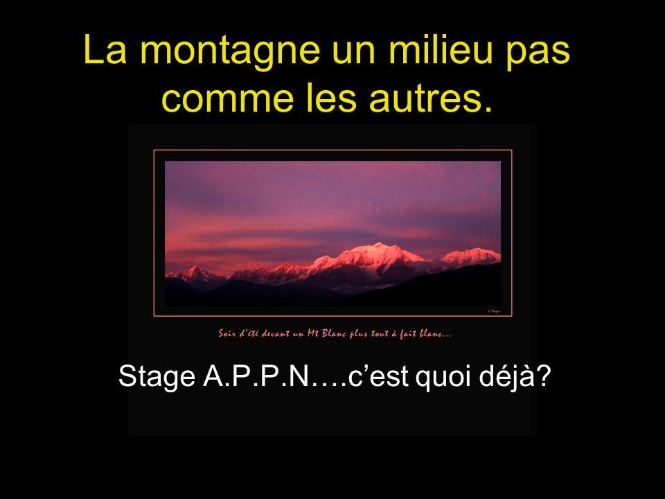 La montagne un milieu pas comme les autres. Stage A.P.P.N….cest quoi déjà?