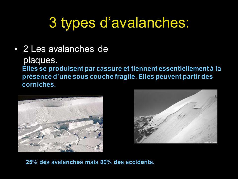3 types davalanches: 2 Les avalanches de plaques. Elles se produisent par cassure et tiennent essentiellement à la présence dune sous couche fragile.
