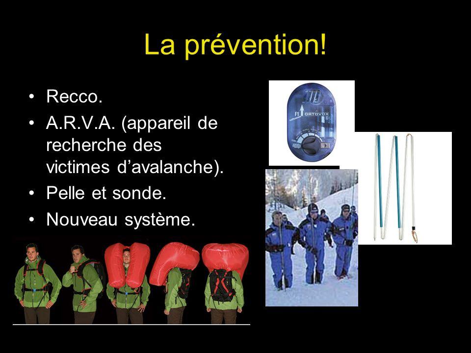 La prévention! Recco. A.R.V.A. (appareil de recherche des victimes davalanche). Pelle et sonde. Nouveau système.