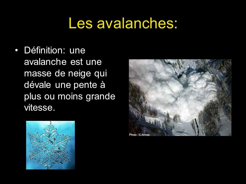 Les avalanches: Définition: une avalanche est une masse de neige qui dévale une pente à plus ou moins grande vitesse.