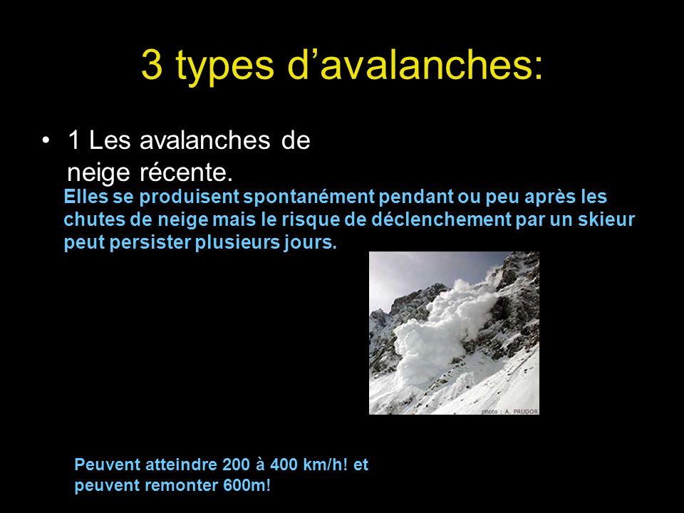 3 types davalanches: 1 Les avalanches de neige récente. Elles se produisent spontanément pendant ou peu après les chutes de neige mais le risque de dé