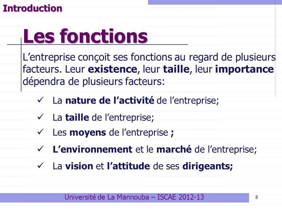 8 Lentreprise conçoit ses fonctions au regard de plusieurs facteurs. Leur existence, leur taille, leur importance dépendra de plusieurs facteurs: La n