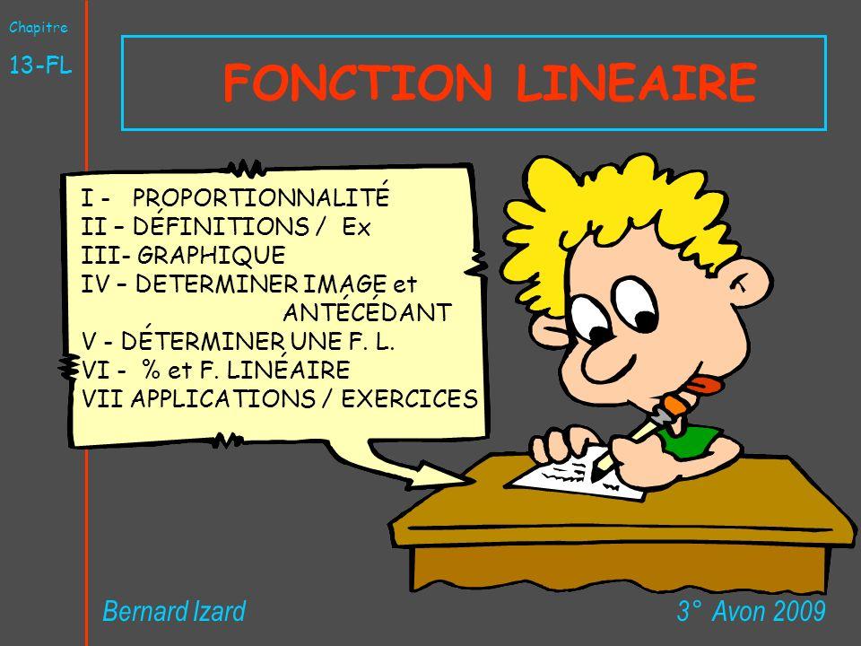 FONCTION LINEAIRE 3° Avon 2009Bernard Izard Chapitre 13-FL I - PROPORTIONNALITÉ II – DÉFINITIONS / Ex III- GRAPHIQUE IV – DETERMINER IMAGE et ANTÉCÉDA