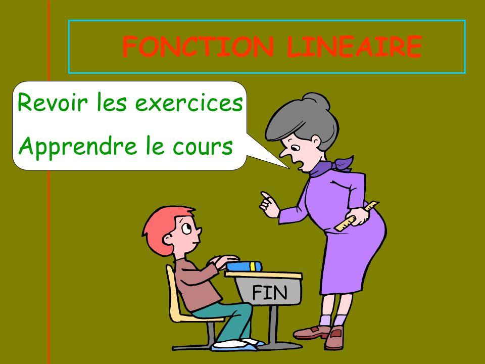 FONCTION LINEAIRE Revoir les exercices Apprendre le cours FIN