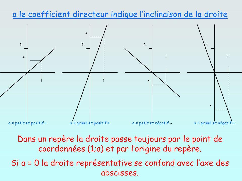 1 1 1 1 1 1 1 1 a a a a a « petit et positif »a « grand et positif »a « petit et négatif » a « grand et négatif » a le coefficient directeur indique l