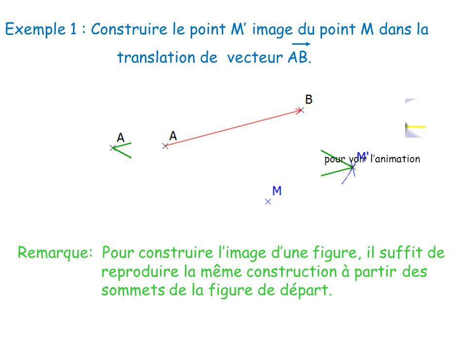 Exemple 1 : Construire le point M image du point M dans la translation de vecteur AB. Remarque: Pour construire limage dune figure, il suffit de repro
