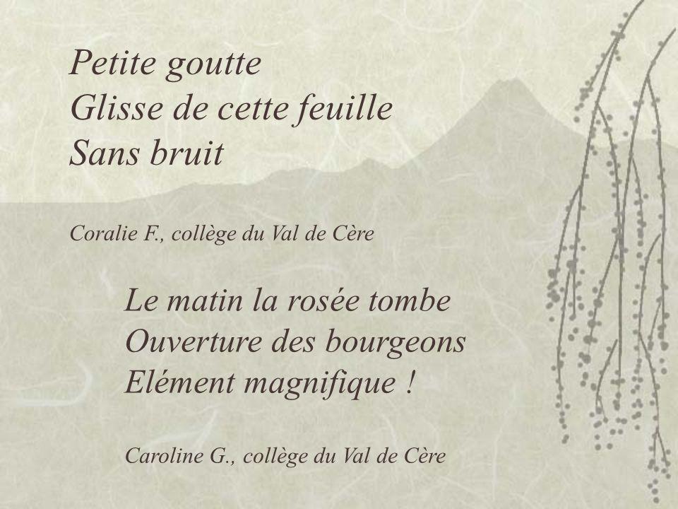 Petite goutte Glisse de cette feuille Sans bruit Coralie F., collège du Val de Cère Le matin la rosée tombe Ouverture des bourgeons Elément magnifique .