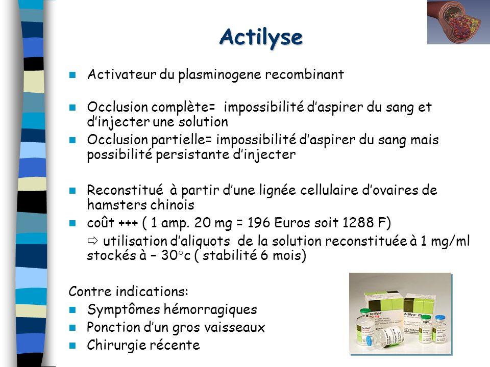 Actilyse Activateur du plasminogene recombinant Occlusion complète= impossibilité daspirer du sang et dinjecter une solution Occlusion partielle= impo