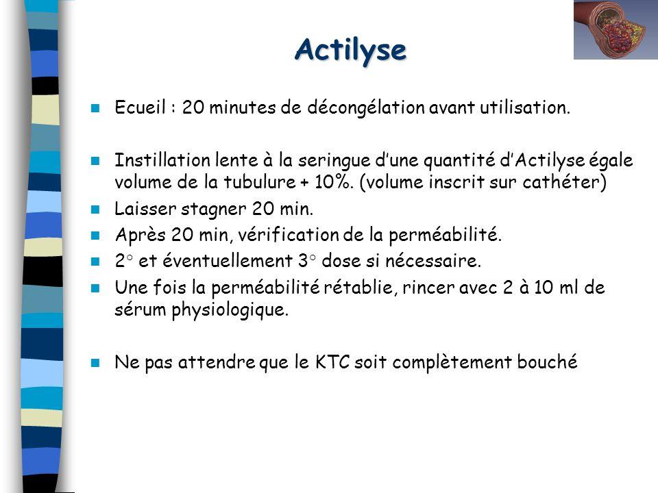 Ecueil : 20 minutes de décongélation avant utilisation. Instillation lente à la seringue dune quantité dActilyse égale volume de la tubulure + 10%. (v