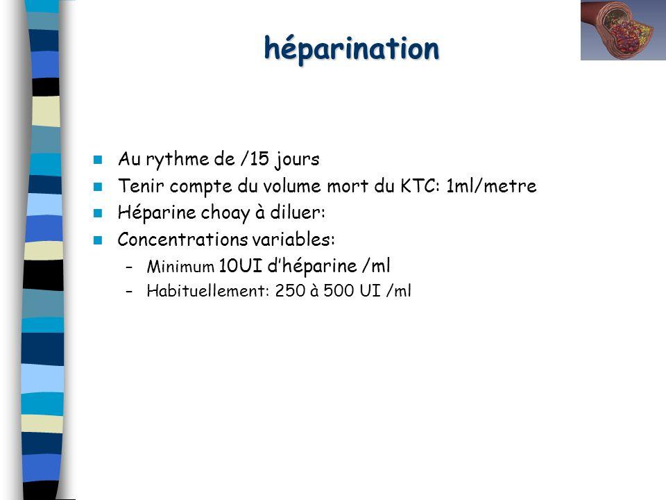 héparination Au rythme de /15 jours Tenir compte du volume mort du KTC: 1ml/metre Héparine choay à diluer: Concentrations variables: –Minimum 10UI dhé