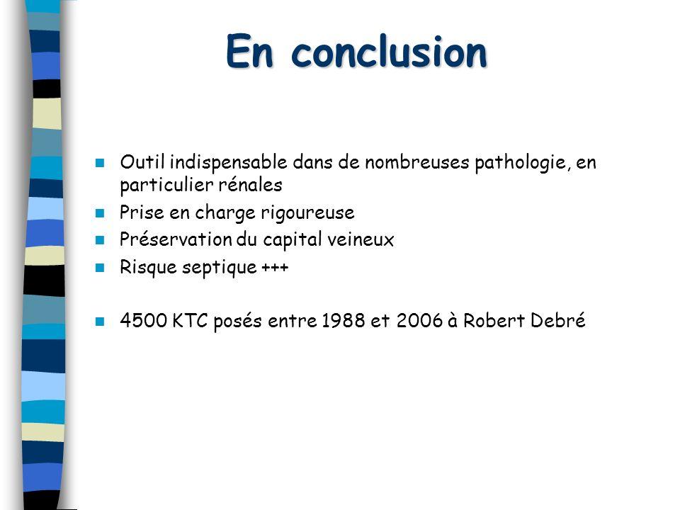 En conclusion Outil indispensable dans de nombreuses pathologie, en particulier rénales Prise en charge rigoureuse Préservation du capital veineux Ris