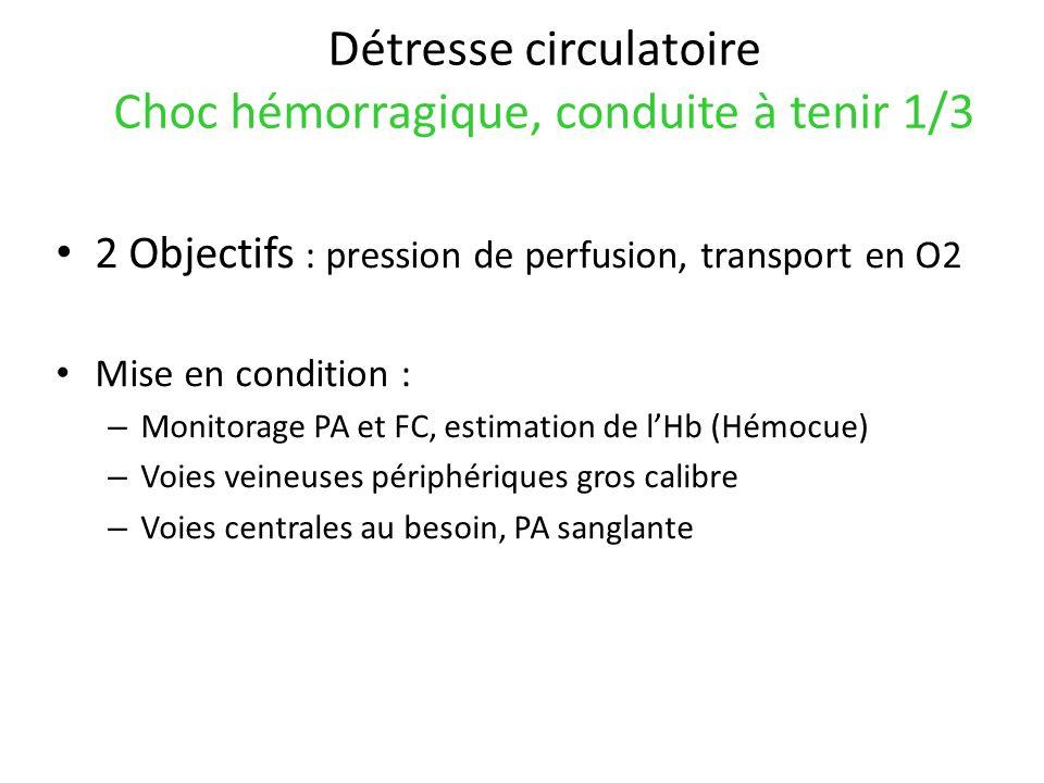 Détresse circulatoire Choc hémorragique, conduite à tenir 1/3 2 Objectifs : pression de perfusion, transport en O2 Mise en condition : – Monitorage PA