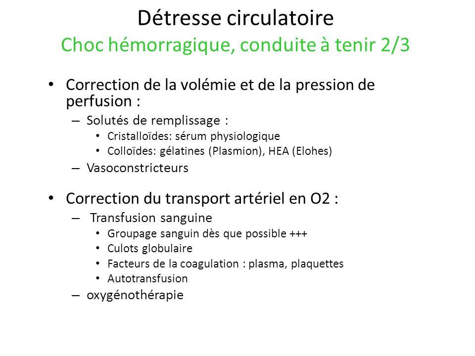 Détresse circulatoire Choc hémorragique, conduite à tenir 2/3 Correction de la volémie et de la pression de perfusion : – Solutés de remplissage : Cri